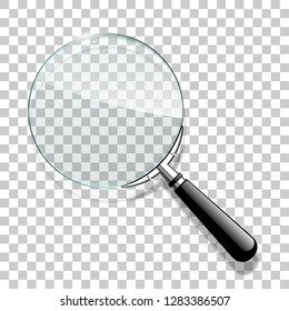 Innovative illustration 3d realistic loupe icon search isolated with red ribbon. Creative banner illustration search answers. modern design magnifying glass logo for Zoom And Tool with red ribbon