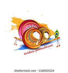 Innovative illustration banner card poster for  Happy Krishna Janmashtami , Dahi Handi meaning cream and pot