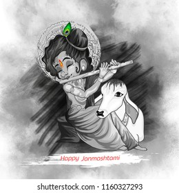 Innovative illustration of banner, card poster for Lord Krishna in Happy Janmashtami festival of India ,Shri Krishan Janmashtami