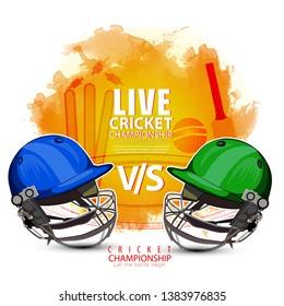innovative illustration of Player helmet on cricket championship sports background