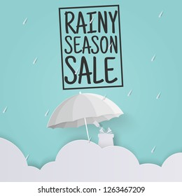 Innovative mega Monsoon Sale Banner or poster template design for shopping promotion. Blue sky background. Rainy Season or Special Offers with rain drop, umbrella, gift, cloud in paper cut art style