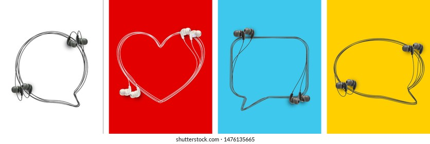 Innovative music quotation template speech bubble set in headphones quotes isolated on backdrop. Creative banner illustration set with quote frame wire with quotes headset modern design cloud remark