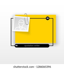 Innovative quotation template in quotes against the White backdrop. Yellow paper Creative banner illustration with a quote in a frame with quotes. Yellow Color paper template modern typography design.