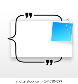 Innovative quotation template in quotes against the White backdrop. Blue paper Creative banner illustration with a quote in a frame with quotes. Blue Color paper template modern typography design.