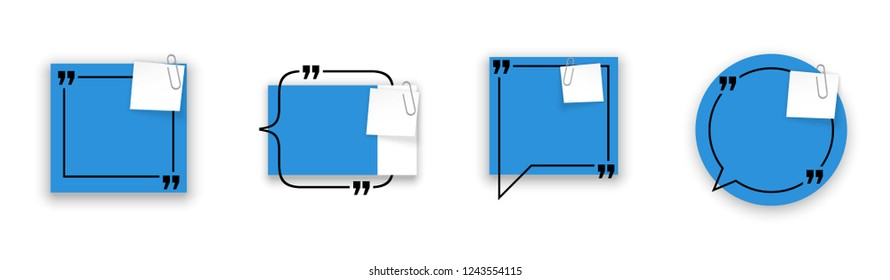 Innovative quotation template speech bubble set isolated on white background. Creative banner illustration with a quote in frame. Color flat paper template modern typography flat design cloud remark