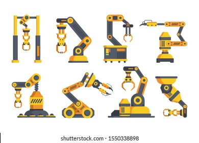 Innovative robotic arms flat vector illustrations set. Automated machinery. Collection of mechanic manipulators on plant. Factory equipment isolated cliparts color pack on white background