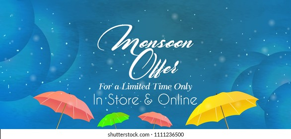 Innovative sale abstract or poster for Monsoon, Rainy Season or Monsoon Offer, with nice and creative design illustration.