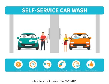 Self service car wash images stock photos vectors shutterstock innovative self service car wash infographics set vector flat icons solutioingenieria Gallery