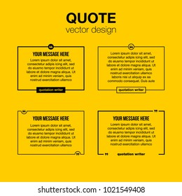 Innovative set vector quotation template in quotes against the Yellow backdrop. Creative vector banner illustration with a quote in a frame with quotes. Color paper template modern typography design.