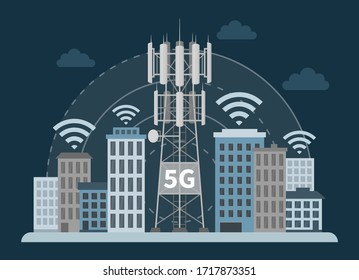 Innovative smart city with 5G base station mast on dark background, flat vector illustration of cellular equipment and mobile data towers, telecommunication antennas and signal.