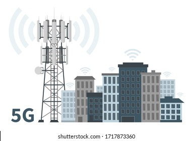 Innovative smart city of future with 5G base station mast on white background, flat vector illustration of telecommunication antennas and signal, cellular equipment and mobile data towers.