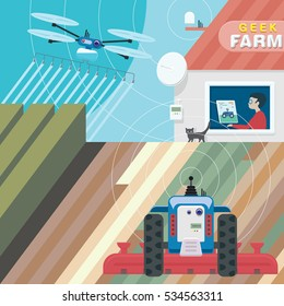 Innovative technologies in Agriculture, future of farming illustration concept. Young inventor controlled agri bots from his house using computer software and radio signal. Vector