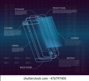 Innovative technology development and product analysis in HUD style. concept development of a new smartphone. 3D touch screen with armored glass