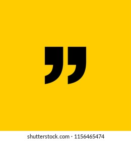 Innovative vector basic quotation marks template in quotes against the Yellow backdrop. Creative banner illustration with a quote in a frame with quotes. Color paper template modern typography design.