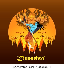 innovative vector illustration of Happy Dussehra festival of India.