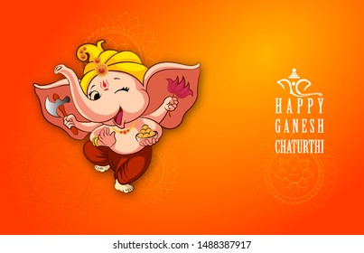 innovative vector illustration of Lord Ganpati caricature background for Ganesh Chaturthi festival of India