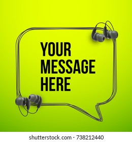Innovative vector music quotation template in headphones quotes on the Green backdrop. Creative vector banner illustration with quote in a frame with Black quotes. Template modern headset design.