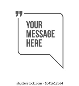 Innovative vector quotation template in quotes against the White backdrop. Creative vector banner illustration with a quote in a frame with quotes. Color paper template modern typography design.