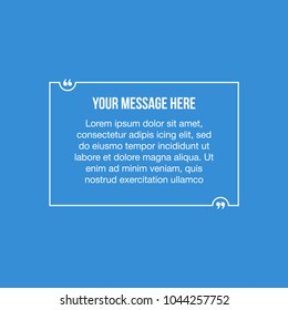 Innovative vector quotation template in quotes against the Blue backdrop. Creative vector banner illustration with a quote in a frame with quotes. Color paper template modern typography design.