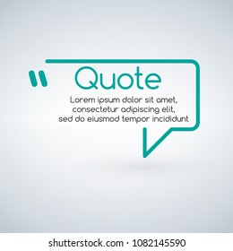 Innovative vector quotation template in quotes. Creative vector banner illustration with a quote in a frame with quotes. Vector illustration isolated on white background.
