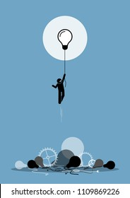 Innovator created a new working idea that is functioning. Flying up to the sky on a light bulb. Vector artwork depicts the concept of novelty, breakthrough, and inspiration.