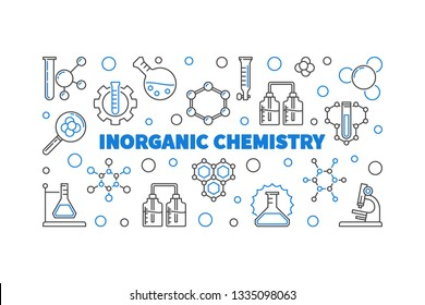 Inorganic Chemistry vector concept horizontal banner or illustration in thin line style