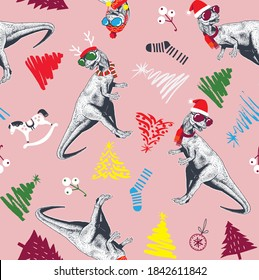 inosaur,Hand drawn seamless pattern with dinosaurs and Christmas elements ,Graphical set of dinosaurs, style,tree,AOP pattern and EPS10 vector file organized in layers for easy editing.