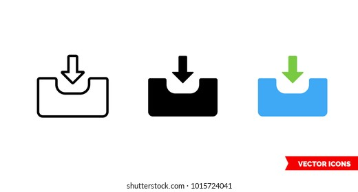 Input icon of 3 types: color, black and white, outline. Isolated vector sign symbol.