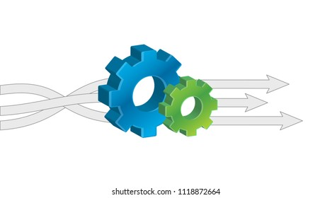 Input Output Gears sign vector illustration. isolated over a white background