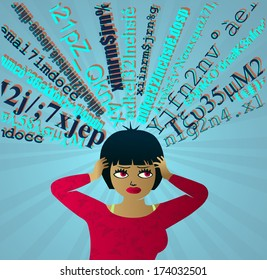 Input Overload: Girl under pressure overwhelmed by information