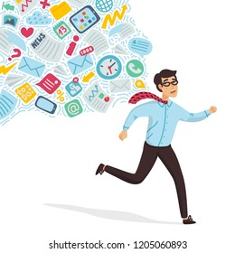 Input overloading. Information overload concept. Young man running away from information stream pursuing him. Concept of person overwhelmed by information. Colorful vector illustration in flat cartoon