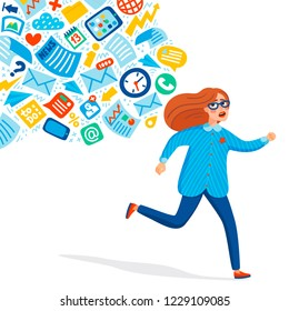 Input overloading. Information overload concept. Young women running away from information stream pursuing him. Concept of person overwhelmed by information. Colorful vector illustration in flat style