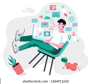 Input overloading. Information overload concept. Young manfalls from a chair under the pressure of information from a laptop. Concept of person overwhelmed by information.