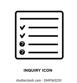 inquiry icon, isolated on white background,flat vector illustration can be used for web, mobile and print, inquiry icon, logo concept