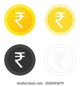INR or Indian rupee sign icon set. Vector illustration EPS 10 file format.