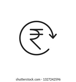 INR Symbol circled by arrow, Indian Rupee, Money flow, Exchange, Circulation