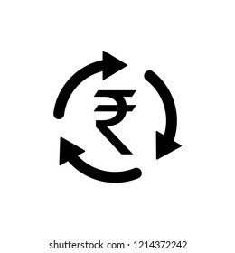 INR Symbol circled by three arrows, Indian Rupee, Money flow, Exchange, Circulation, Vector illustration
