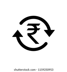 INR Symbol circled by two arrows, Indian Rupee, Money flow, Exchange, Circulation, Vector illustration