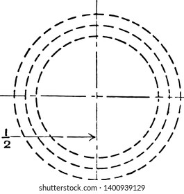Inscribed Circle with Smaller Circles at Tangent Points Both Sides of the Large Circle Mechanical Drawing Exercise is first divided into quarters is given the perimeter and the ratio of the sides