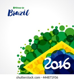 Inscription 2016 on a background watercolor stains,colors of the Brazilian flag and text welcome to Brazil. 2016 welcome to Brazil background. Brazil Carnival,watercolor paints