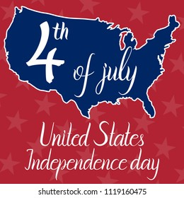 Inscription 4th of july United States independence day and map of the United States of America