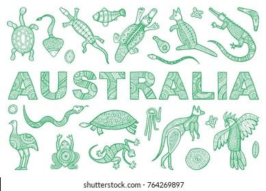 The inscription AUSTRALIA and outline the Australian animal