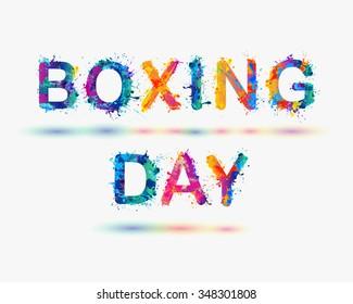 "Inscription ""BOXING DAY"". Rainbow splash paint"
