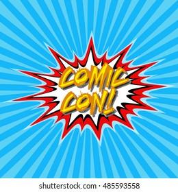 Inscription Comic Con year pop art style, comic sketch, vector illustration for print or website design