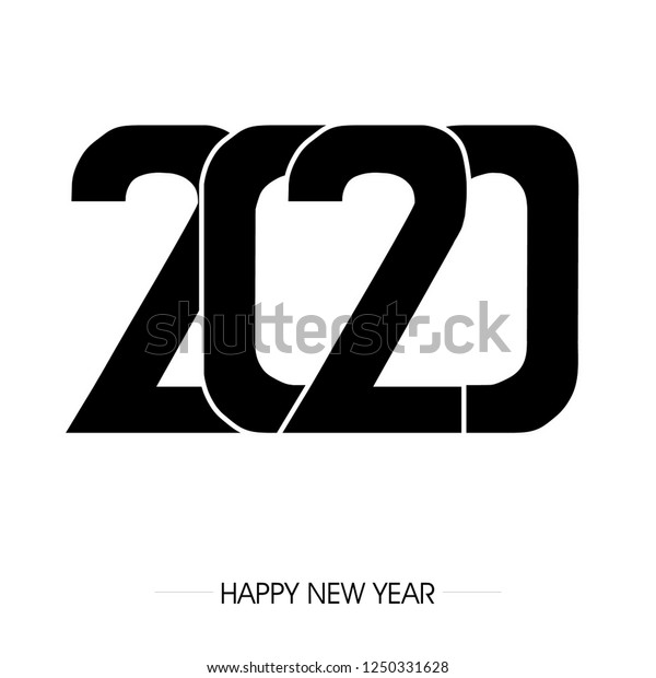 New Words 2020.Inscription Curved Font 2020 On Background Stock Vector