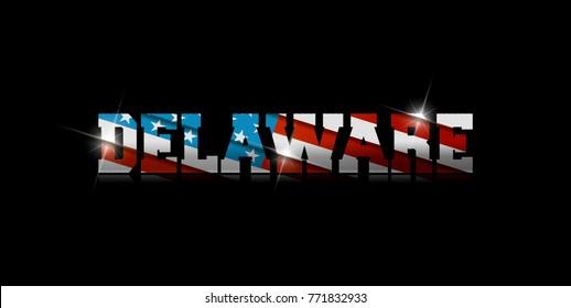 "inscription ""Delaware"" with the US flag inside on black background."