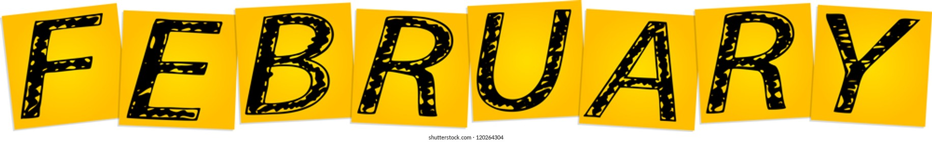 Inscription February on the yellow square stickers - Shutterstock ID 120264304