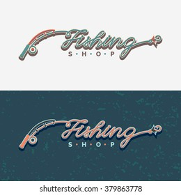The inscription Fishing, original lettering. Fishing rod, fishing reel, hooks. Icons and illustrations for design, website, infographic, poster, advertising.