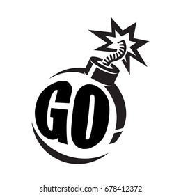 Inscription - Go! inside a round black bomb with a burning wick. Vector illustration.