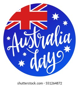 Inscription Happy Australia day lettering with flag and map. Vector illustration. Calligraphy for the print typography